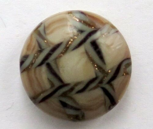 Old Glass Button - Twisted Goldstone Overlay, Grid Pattern