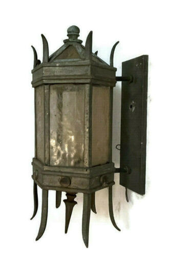 """HUGE ANTIQUE 21"""" COPPER? BRASS? OUTDOOR PORCH WALL SCONCE GOTHIC VICTORIAN"""