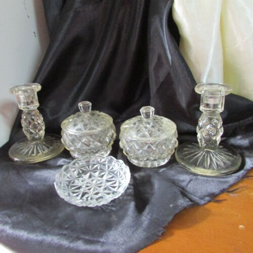 ANTIQUE 5 PIECE CROWN CRYSTAL DRESSING TABLE SET