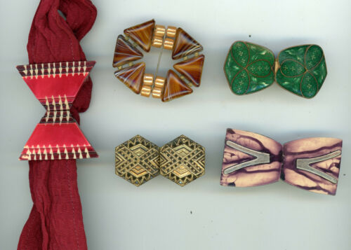 5 Vintage buckles: Enamel, Twinkle, Celluloid, and Agate.