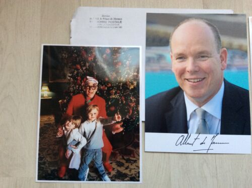 Photo signée Monaco Prince Albert 2021 reply signed 2 pictures Gabriella Jacques