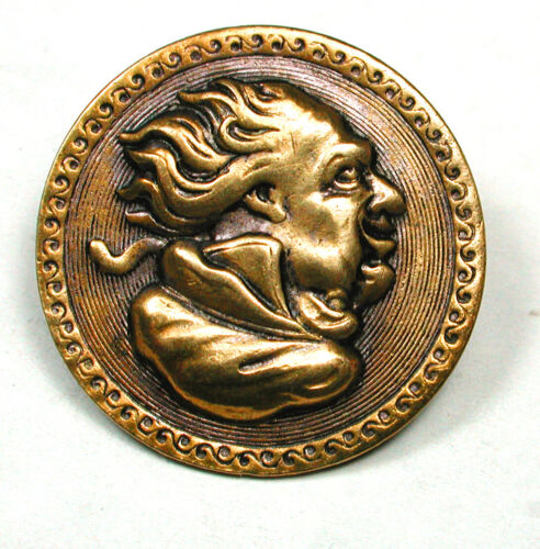 """Antique Stamped Brass Button Detailed Man's Cameo Design"""" 1890s 1"""""""