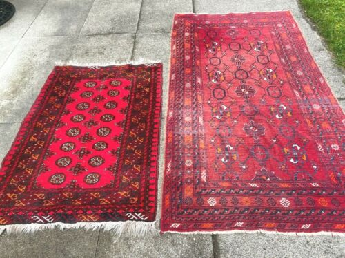 antiques-swiss*****2 Beautiful Antique BOKHARA rugs 3`6 x 6`5 and 2`9 x 4`  ft