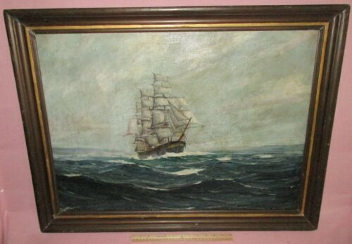 Antique Oil on Canvas Painting Maritime Seascape Tall Ship Robert F. Lie 1941