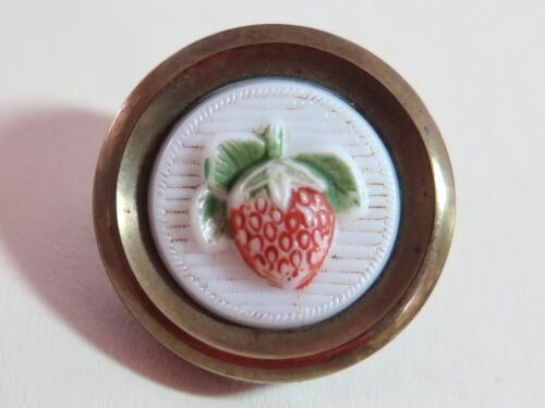 Antique Strawberry Drum Button - Painted Milk Glass Set in Metal