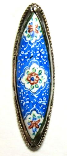 BEAUTIFUL ANTIQUE 1890'S-1020'S HAND ENAMELED PERSIAN SILVER BUTTON w/POSIES
