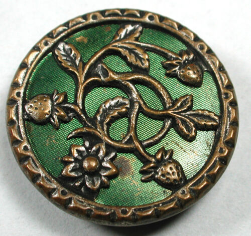 """Antique Brass Button Strawberries over Green Tinted Back Ground - 7/8"""""""