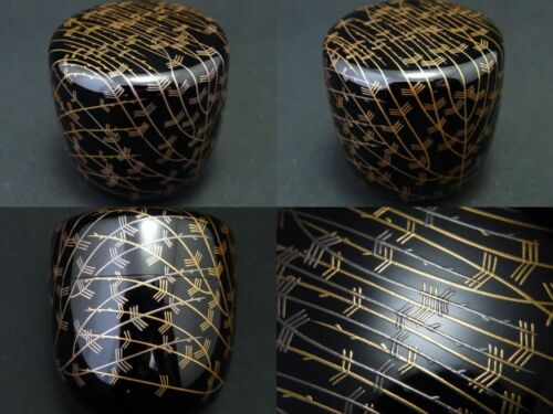 Japanese Lacquer Wooden Tea caddy Gold and Silver Willow makie Chu-Natsume   601