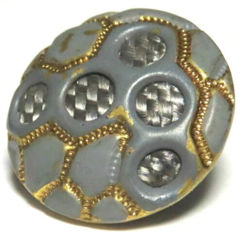 RARE & QUITE LOVELY ANTIQUE 19th C. GREEN ENAMELED BRASS BUTTON w/WOVEN HAIR