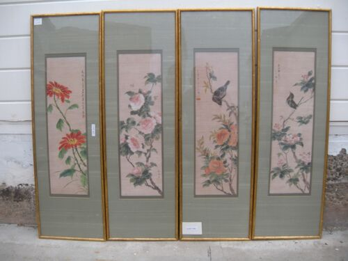 China Antique 1958 painting Bamboo filament of Birds and flower Set of 4  画