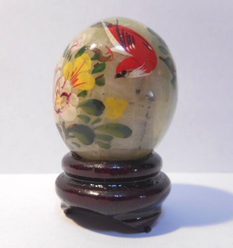 VINTAGE HANDPAINTED JADE EGG & STAND + GIFT BOX - RED ROBIN & FOLIAGE
