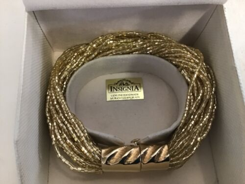Vintage insignia murano 45 glass strand bead and gold clasp bracelet