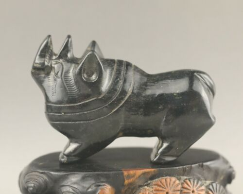 Old China natural jade hand-carved statue of rhinoceros