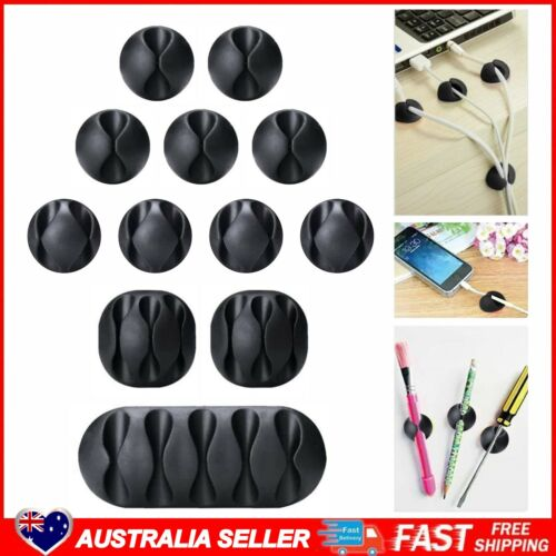 ASAMWM 12 Pieces Black Multipurpose Silicone Cable Clips with Strong 3M Adhesive
