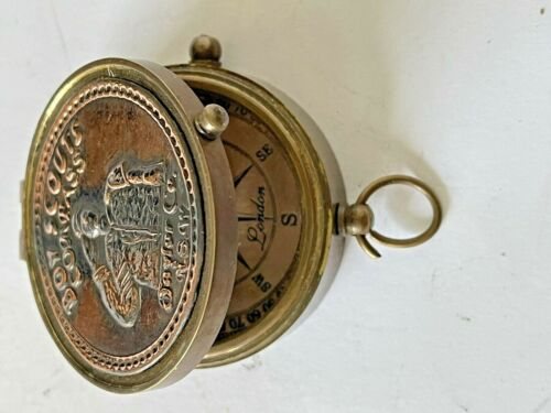 Solid Brass Boy Scout Small Compass With Leather Case