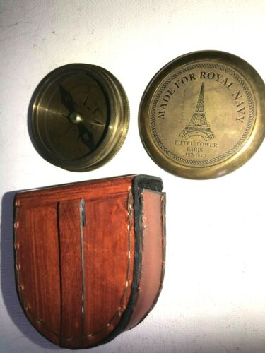 Solid Brass Small Poem Compass With Leather Case