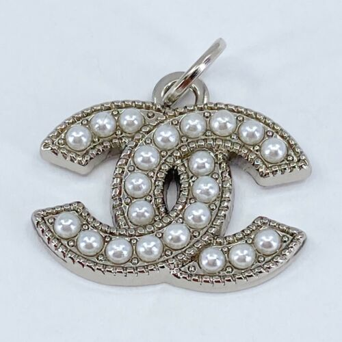 One Authentic CHANEL Button, Stamped Silver Metal 22mm Designer Art Zipper Pull