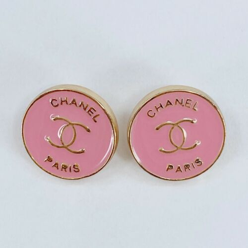 One Pair Authentic CHANEL Buttons, Classic Gold Metal 14mm Designer Art Buttons