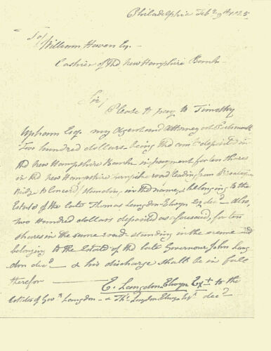 """WAR OF 1812 NEW HAMPSHIRE  COL TIMOTHY UPHAM """"HERO OF SIEGE OF FORT ERIE"""" 1825Original Period Items - 10951"""