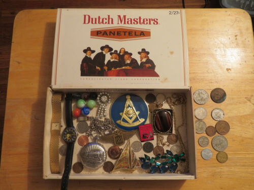 junk drawer old box 14K gold jewelry lot old marbles old coins sterling ring old