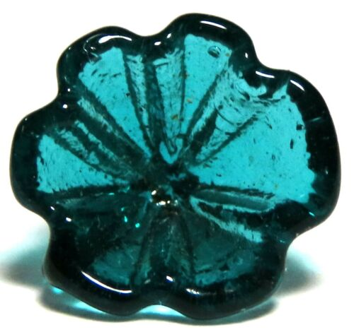 ANTIQUE LATE 19th-20th C. TRANSLUCENT DEEP TEAL GREEN GLASS POSY FLOWER BUTTON