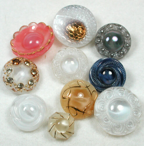 """Vintage Moonglow Glass Buttons 2Various colors & Designs - 1/2 to 7/8"""""""