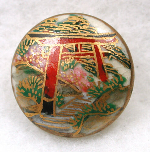 """Vintage Satsuma Button Pretty Japanese Torri Image with Gold Accents 5/8"""""""