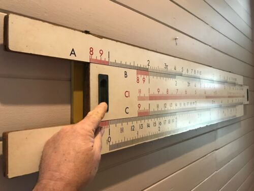 Vintage 1960's industrial wall mounted slide rule, Original, working condition