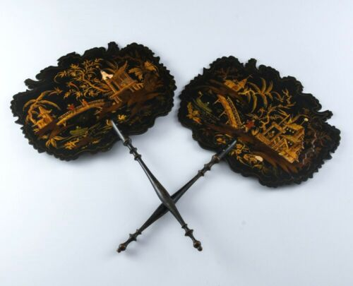 PAIR c1800 GEORGIAN ENGLISH CHINOISERIE CHINESE SCENIC LACQUER FACE SCREENS FANS
