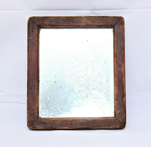 VINTAGE OLD WOODEN  FRAMED MAKE-UP MIRROR / SHAVING/  MIRROR COLLECTIBLE R2
