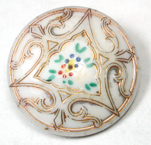 """Antique Victorian Glass Button hand painted with Gold Luster Design - 3/4"""""""