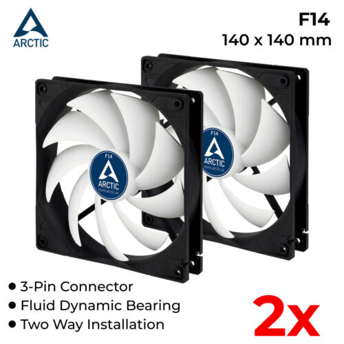 2x 140mm Computer Case Fan PC Silent Fans Fluid Bearing 3-Pin 12V Arctic Cooling