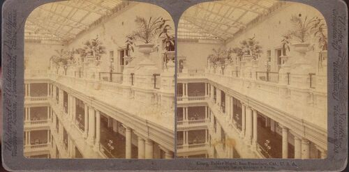 1895 STEREOVIEW UNIQUE VIEW OF THE COURT PALACE HOTEL SAN FRANCISCO