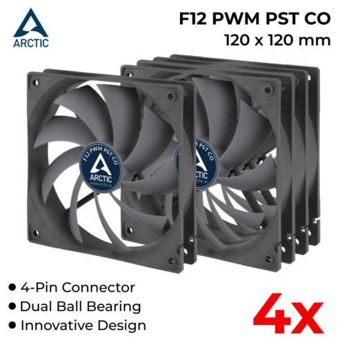 4x 120mm PC Case Fan Silent Fan for Computer Case Quiet Cooling Cooler 4-Pin 12V