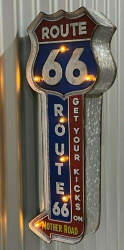 ROUTE 66 MOTHER ROAD ILLUMINATED BAR LIGHT 12V PERFECT FOR BAR MAN CAVE