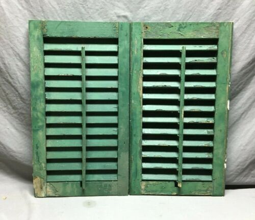 Small Pair 14x25 Antique House Window Wood Louvered Green Shutters VTG  1169-21B