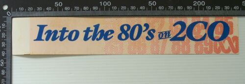 VINTAGE INTO THE 80s ON 2CO RIVERINA NSW AM RADIO ADVERTISING PROMO STICKER