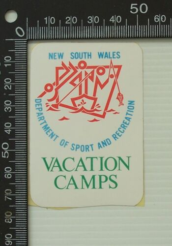 VINTAGE NSW DEPARTMENT OF SPORT AND RECREATION VACATION CAMP ADVERTISING STICKER