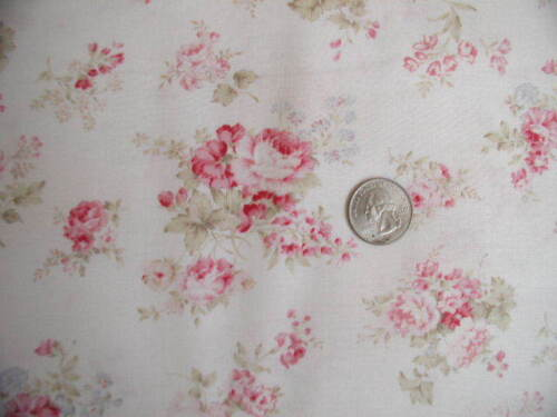 Mary Rose Raspberry and Pink Bavarian Roses on Cream Fabric  -MR151106l-4 BTY