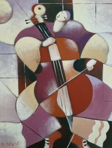 GALINA DATLOOF MAZIN (1949-), Large Oil on Canvas, The Cello Player, Signed