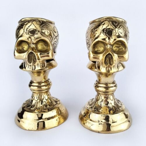 """2 SKULL head CANDLE STICK pure brass old vintage style collect 5.1/2"""" heavy B"""