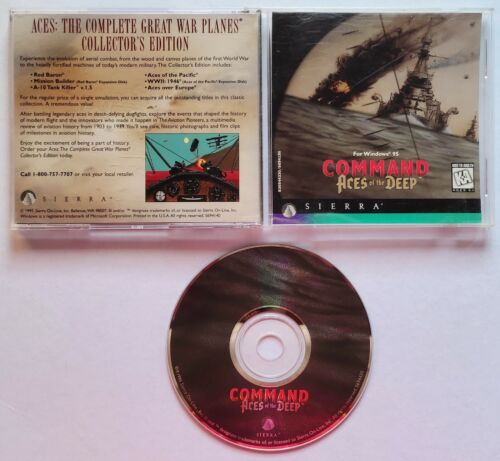 VINTAGE Command Aces of the Deep (PC, 1995) Submarine Simulator Video Game ORIG