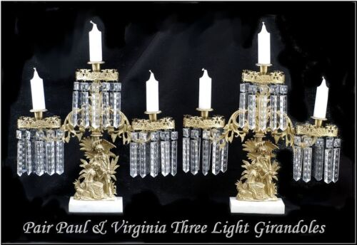 Pair Paul & Virgina Three Light Girandoles Garnitures