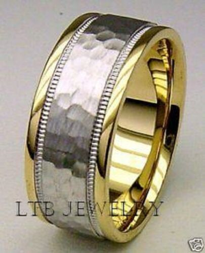 14K MENS TWO TONE GOLD WEDDING BANDS, HAMMERED 7MM WEDDING RINGS