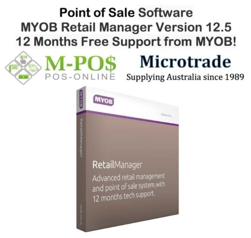 MYOB Retail Manager ver 12.5 (latest version) 12 months free support from MYOB!
