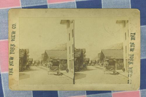 Old New York View Co Stereoview ?? Main Street M?vr??????? Stagecoach Buggy