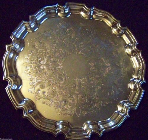 LARGE ENGLISH SILVER - CHIPPENDALE CHASED SHEFFIELD SILVER SALVER TRAY - SUPERB