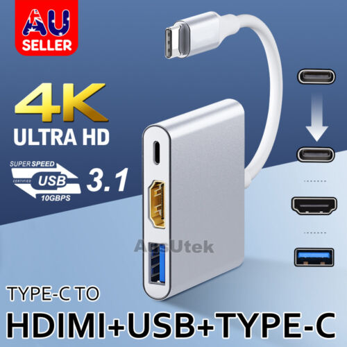 3IN1 USB 3.1 Type-C USB-C to Female HUB 4K HD HDMI Data Charging Cable Adapter