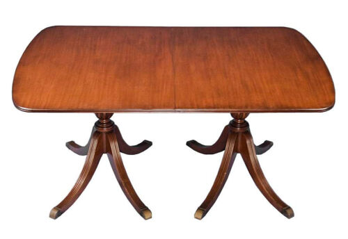 English Antique Style Mahogany Double Pedestal Dining Table