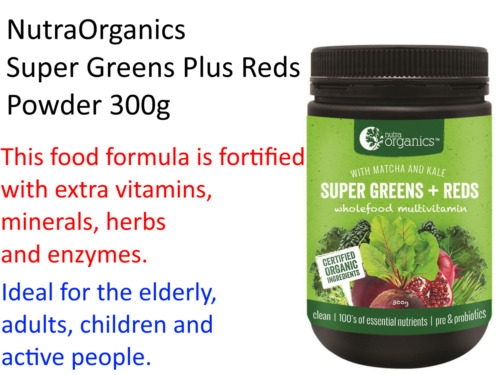 300g Nutra Organics SUPER GREENS & REDS Phyto Nutrients SUPER FOOD POWDER